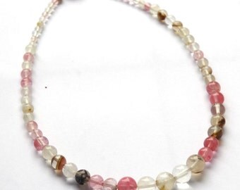 Cherry Quartz necklace - Choker - pink quartz gemstones - gold wire necklace