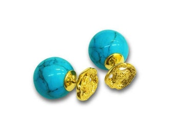 Gold earrings with turquoise are made of yellow gold 585 with blue turquoise.