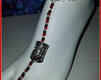 Barefoot Sandal with Metal Slider and Colored Beads