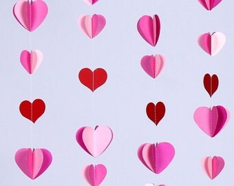 Paper 3D Heart Garland/ Pink Bridal Shower Decor/ Weddings/ Photo Prop Custom Colors