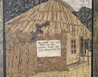 "Natural stone mosaic art--""Coffee hut"""
