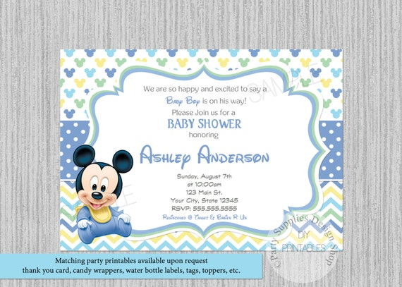 disney baby mickey mouse baby shower invitations mickey baby shower