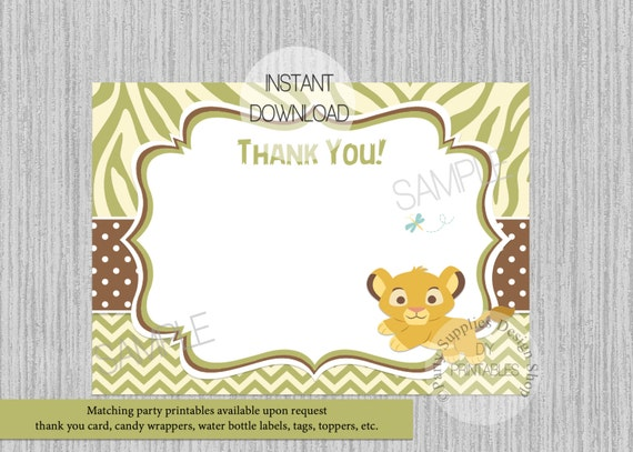 Baby simba lion king baby shower thank you card instant baby simba lion king baby shower thank you card instant download diy printable invitations simba birthday thank you card green bookmarktalkfo Images