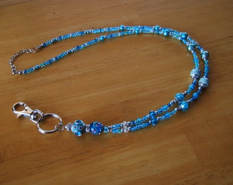 102 TQ - Beaded Lanyard Turquoise Glass and Metal Beads ID Badge Holder or Keychain