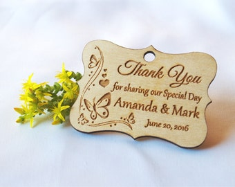 Thank you wedding tags-Wedding favor-Wedding tag-Wedding favor rustic-Gift tags-Wedding tags-Custom favor-Custom tags-Wooden tags-Magnet