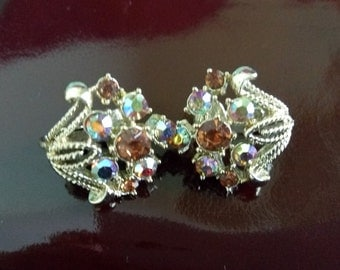 Vintage clip on earrings with multi coloured stones