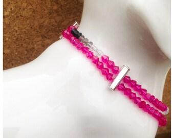 Pretty in Pink & Sterling Silver...a high-end collar for a pampered pooch. Special promo price!