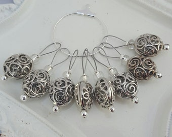 Metal and glass bead knitting stitch markers