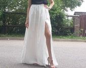 elegant skirt / elegant dress / satin / maxi / prom / original design / sexy / white satin / black satin skirt
