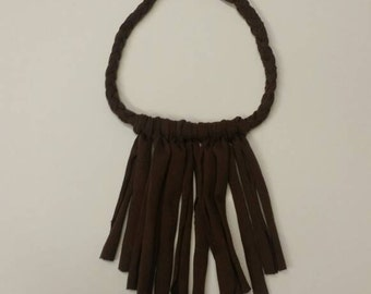 Chocolate  brown braided fringe necklace