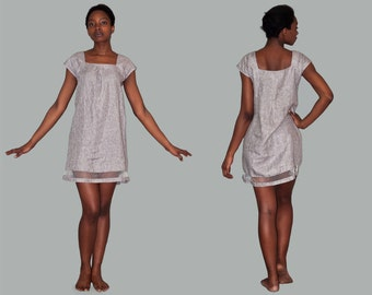 Peas-Chic dress in grey linen