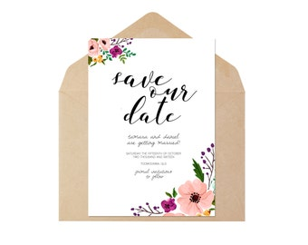 Printable Save the Date - Customised - Floral