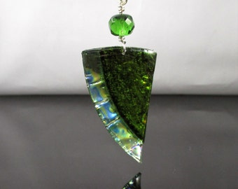 Recycled/Upcycled CD DVD Green Layered Pendant, CD Jewelry