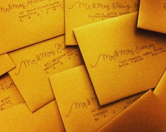 Handwritten Wedding Calligraphy Invitations, Custom Made, Colored/Lined Envelopes