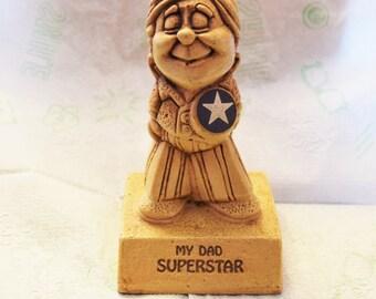 "Vintage 1972 Paula Figurine ""MY DAD SUPERSTAR""/Paula Sillisculpt Figurine/ Collectible"