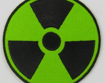 Nuclear Radiation Symbol/Sign (Green) Iron On/ Sew On Cloth Patch Badge Appliqué nuke cybergoth cyber punk goth rocker emo rave Size: 6.8cm