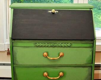 Vintage Secretary Desk; Desk; Small Hutch; Green furniture