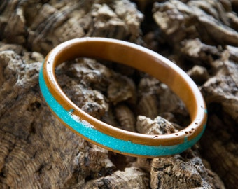 Cherry wood Bangle with Turquoise inlay no 83