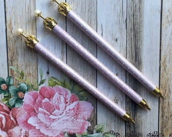 Princess Mechanical Pencil - Lilac with Crown and Spots