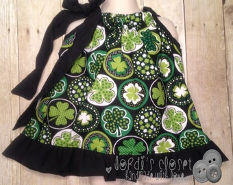 Girls Top, Spring Top, St. Patricks Day, Shamrock Pillowcase Top, Green Top, Pillowcase Top - Size 5T RTS