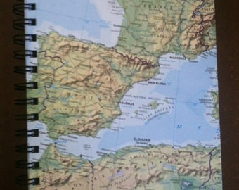Travel Journal made from discarded map