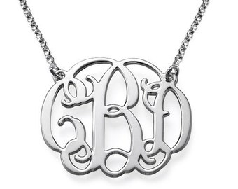 20% OFF + FREE SHIP Personalized Monogram Necklace in Sterling Silver - Monogram Necklace - Initials Necklace - Bridesmaids Gift