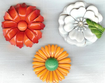 3 VINTAGE 1960's Colorful Flower Pins Brooches