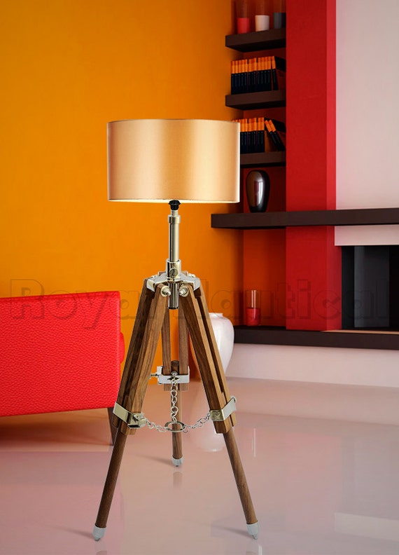 Wooden floor lamp tripod adjustable teak wood lamp by for Tripod spotlight floor lamp in teak wood