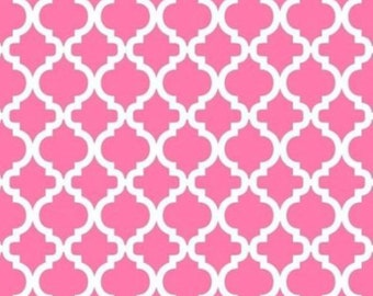 BTHY- Bella Fine Quilting Cotton by David Textiles, White Lattice on a Hot Pink Background, by the HALF Yard
