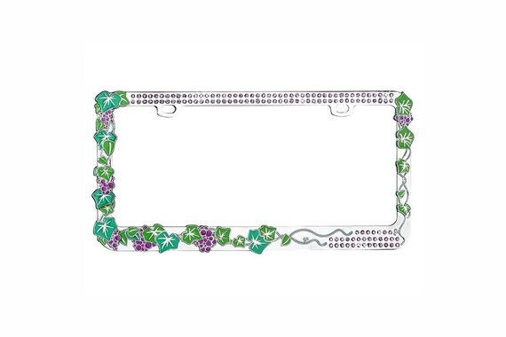 Grape Vine With Green Crystal Design Metal License Plate Frame