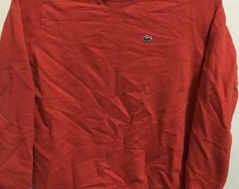 Vintage 90's Lacoste Orange Classic Design Skate Sweat Shirt Sweater Varsity Jacket Size S #A101