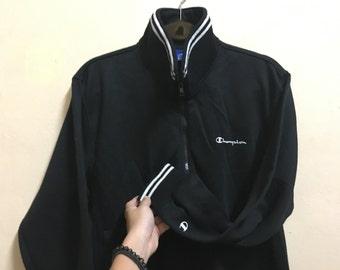 Vintage 90's Champion Black Classic Design Sweat Shirt Sweater Varsity Jacket Size M #A467