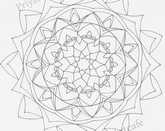 instant download mandala, adult coloring, ,mandala coloring, grown ups coloring, printable mandala, DIY art, coloring in, coloring pattern