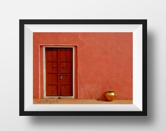 indian photography,fine art photogrpahy print, door photography, coral wall print, gifts for her, minimal photography, wall art, home decor