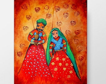 indian puppet art, couple painting, small acrylic, original wall home decor, ready to hang, colorful rajasthani, folk artwork, india