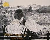 """Oath in Jerusalem, """"51 """"39 (130X100 cm),Special Original Acrylic Painting on Canvas,Hand Made, by Tomer Sharabani"""
