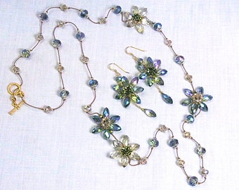Light Green & Champagne Crystal Earring-Long Necklace Set