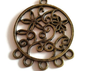 Connector/support earring decorated bronze 2pcs 27x35mm