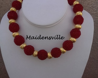 Red and Gold Party Necklace