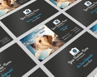 Premade Pet Photography Business Card Design PSD Photoshop Editable