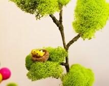 Fairy Garden Tree with Bird Nest, Handmade. Miniature Garden Tree, Miniature Landscape Tree