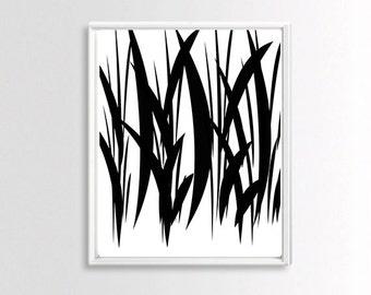 Digital Print, Modern Wall Art, Abstract Art Print , Minimalist Black and White  Printable Art