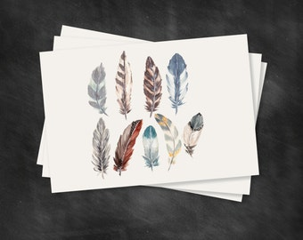 FEATHER CARD SET of 10