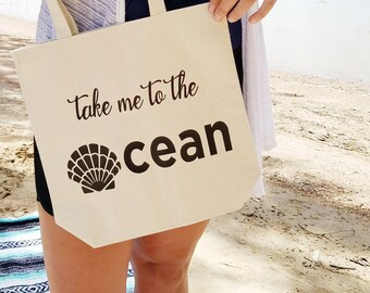 Take me to the Ocean tote, beach bag, market tote, grocery bag, carry all, Personalize, Customize it, Hawaii, graphic tote, shells, beach