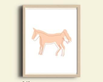 Pink horse art print, printable, pale pink horse art  print, horse Silhouette, instant download, horse art print, minimalist horse wall art