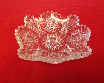 Crystal Floral & Wheat Pattern Mint/Candy Dish-FREE SHIPPING