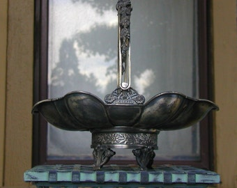 Antique Quadruple Plate Brides Basket Victorian Silver Plate Holloware Aesthetic Movement Serving Basket