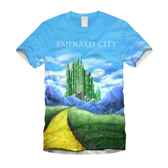 Emerald city sublimtion front print white t shirt by for Emerald city nickname