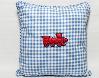 Blue check train cushion