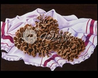 Pinecones: 9x12 print of an original watercolor painting